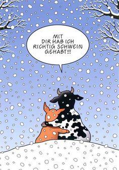 Cartoon Postkarten mit lustigen Sprüchen – Mit Dir hab ich richtig Schwein gehabt!!! Postkarten Cartoon