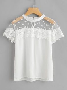 Feitong Summer Women Sexy Blouses Causal Short Sleeve Chiffon Lace Tops And Blouse Women Clothes blusas mujer de moda 2018 New Mode Outfits, Fashion Outfits, Womens Fashion, Fashion News, Latest Fashion, Outfit Chic, Trends 2016, Mode Top, Sexy Blouse