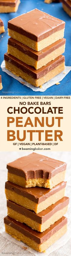 Desserts / Sweet Treats / Delicious Sugary Snacks 4 Ingredient No Bake Chocolate Peanut Butter Bars (V, GF, DF): an easy recipe for thick, decadent peanut butter bars that taste like Reese's. #Vegan #GlutenFree #DairyFree BeamingBaker.com