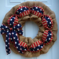 Summer Wreaths for Front Door/Memorial Day Wreath/Patriotic Wreath/Summer Burlap Wreath/4th of July Wreath/Military Wreath/American Flag by OneofaKindWreath on Etsy