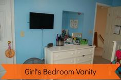 Do you have more than one child? I decided to move all my daughter's grooming into her bedroom and create a girls bedroom vanity. Kids Bathroom Organization, Vanity Organization, Guest Bedrooms, Girls Bedroom, Master Bedroom, Big Girl Rooms, Diy Furniture, Kids Room, Management Tips