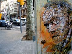 """""""A number of jaw-dropping stencil works from the past few months by French artist Christian Guémy aka C215 seen on the streets of Barcelona and Berlin. C215 has been an active street artist for over 20 years, his first stencils going up around 2006 and according to Street Art London his daughter is now following in his footsteps making her own 2 layer stencils. See much more on Flickr. (via antonia schulz)"""" >>COLOSSAL"""
