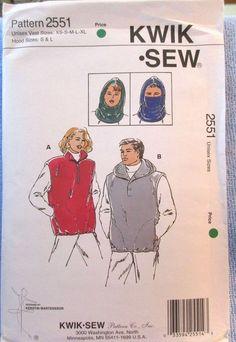 Kwik Sew Pattern 2551 Unisex Vests & Hood (Vest Sizes XS S M L XL) (Hood S & L)  #KwikSew #Vest