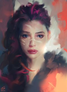 """Vibrate"" - Wojtek Fus; Poland {figurative illustrator beautiful female head woman face portrait digital painting #loveart} Heartbroken !! wojciechfus.deviantart.com"