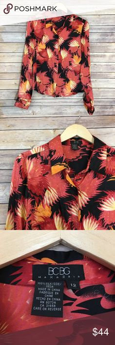 "BCBGMaxAzria Silk Blouse BCBG silk blouse. Size 12. Pit to pit 20""/ length 21"". Button Down BCBGMaxAzria Tops Blouses"