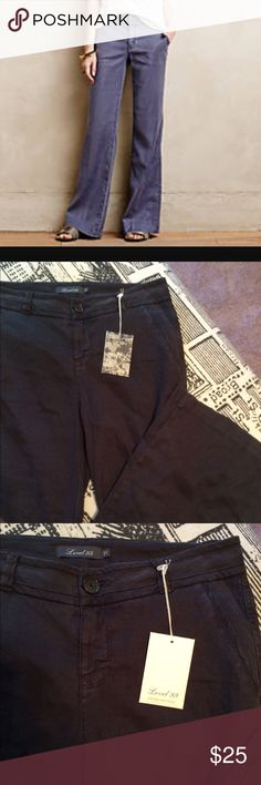 Level 99 wide leg linen pants Never worn, with button tag attached. Level 99 blue linen pants. Very soft linen/modal blend with a hint of stretch, these are lightweight but more an early fall lightweight!  Size 27, the fit true to size. Waist inside tapes 32, rise is 9, inseam is  33.5 and hips flat are 19, remember there is some stretch! Never worn! Level 99 Pants Boot Cut & Flare