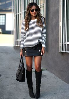 Leather mini with striped tee and black boots
