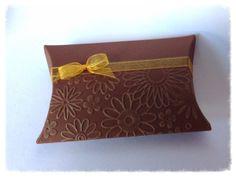 Chocolate pillow box with yellow organza ribbon
