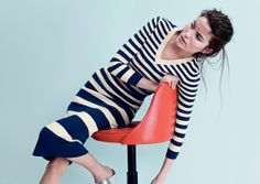 J.Crew Collection cropped stripe v-neck sweater.