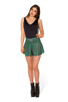 Tartan Green Shorties (WW 48HR $50AUD / US - LIMITED $45USD) by Black Milk Clothing Small