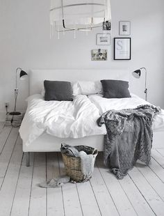 grey and white bedroom decor