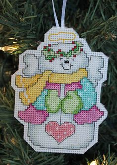 Handmade Angel Snowman Cross Stitch Christmas by IttyBrittyNeedle Cross Stitch Christmas Ornaments, Christmas Ornament Crafts, Snowman Crafts, Christmas Cross, 50 Diy Christmas Decorations, Cross Stitch Designs, Cross Stitch Patterns, Cross Stitching, Cross Stitch Embroidery
