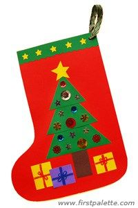 Easy construction paper Christmas stocking craft for kids Christmas Stocking Decorations, Preschool Christmas, Christmas Activities, Christmas Crafts For Kids, Preschool Crafts, Holiday Crafts, Christmas Stockings, Christmas Diy, Decoracion Navidad Diy