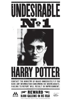 """An Undesirable is a criminally-wanted wizard by the Ministry of Magic, similar to a """"Public Enemy"""" or """"Most Wanted"""" in the Muggle world. From 1997-1998, Harry Potter was marked Undesirable No. 1, ostensibly for involvement in the murder of Albus Dumbledore. This made him the most sought-after wizard by the government. The reward for the capture of him and his wand reached 200,000 Galleons in April of 1998."""
