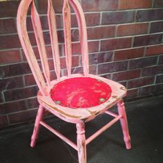 Kids chair with red cowhide seat