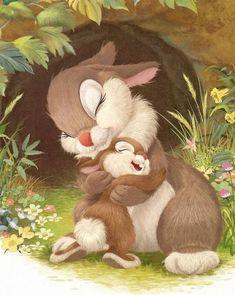 Mama and baby bunny Art Disney, Disney Kunst, Disney Love, Animal Drawings, Cute Drawings, Lapin Art, Art Mignon, Rabbit Art, Bunny Art