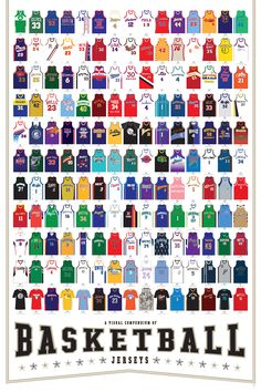 The people over at Pop Chart Lab have put together an awesome poster of 165 basketball jerseys ranging from the year 1921 to Along with jerseys from NBA teams, the poster features unis from movies and pop culture. Basketball Posters, Basketball Is Life, Basketball Skills, Basketball Uniforms, Basketball Games, College Basketball, Basketball History, Basketball Design, Basketball Drawings