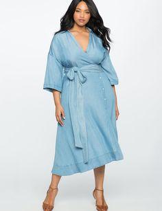 Wide Tie Chambray Wrap Dress - Eloquii Plus Sizes