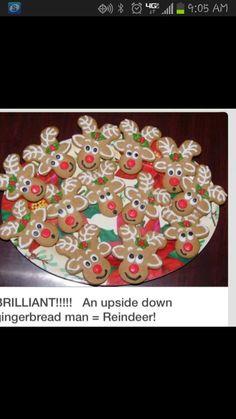 Upside down gingerbread man as a reindeer