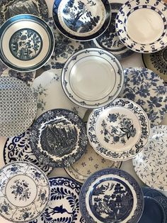 Blue White Dinner Plates Mismatched - Stripe Floral Spatter Asian Indigo Sky Ocean Blue - Priced Per White Dinner Plates, White Dishes, Blue Dishes, Cottage Farmhouse, Farmhouse Decor, Farmhouse Dinner Plates, Country Decor, Ocean Blue Weddings, White Desserts