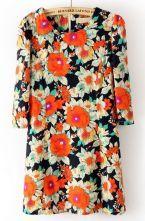 Navy Round Neck Floral Zipper Floral Straight Dress $28.39
