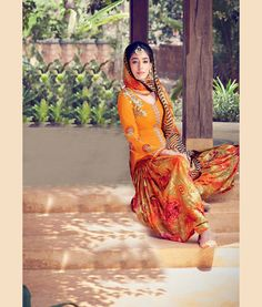 Orange Cotton Satin Patiala Suit 70170