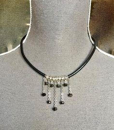 #collier ras du cou cordon rond cuir noir cascade