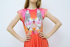 Grapefruit cat- neon orange dress. via Etsy.