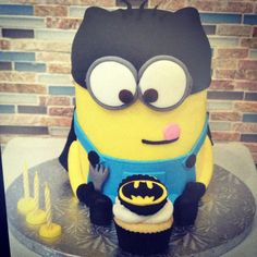 My 3 year old couldn't make up his mind abt his bday theme so I combined them. I dressed up the minion as batman. www.tsbcakes.com