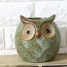 1PC Ceramic Owl Garden Pots Planters Pastoral Style Retro Creative Succulents