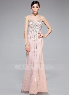 [US$ 168.99] Trumpet/Mermaid Sweetheart Floor-Length Chiffon Prom Dress With Beading Sequins (018044977)