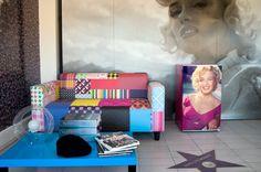 Frigorífico com Autocolante - Personalização com qualquer imagem, cor e tamanho.    Painel - Com Papel de Parede Base Matte.    Tema: Marilyn Monroe.   Home Decor. Fridge. Wallpaper