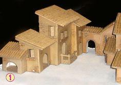 Box Houses, Putz Houses, Paper Houses, Fairy Houses, Nativity House, Christmas Nativity Scene, Christmas Villages, Christmas Crib Ideas, Christmas Crafts