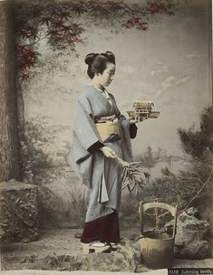 Catching firefly. About late 19th century, Japan