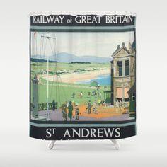 Andrews Vintage Golf Poster Shower Curtain by vintagevault Great Britan, Golf Theme, Vintage Golf, St Andrews, Curtains, Bathroom, Unique, Pattern, Shower