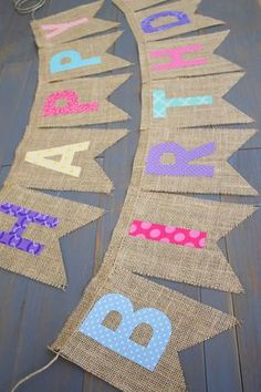 Reusable Happy Birthday Rainbow Pink Purple Coral Blue Yellow Teal Fabric Letters on Burlap for First Birthday Party or Birthday Photo Prop by MsRogersNeighborhood Etsy shop (Diy Photo Letters) Diy Birthday Banner, First Birthday Party Decorations, Diy Banner, Happy Birthday Banners, First Birthday Parties, First Birthdays, Birthday Month, Cake Birthday, Happy Birthday Rainbow