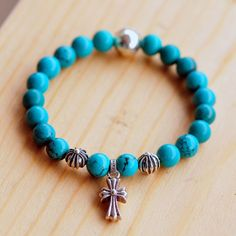 Chrome Hearts Blue Turquoise Beads Bracelet With Cross Pendant