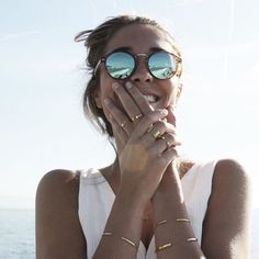 fun sunnies + gold jewelry