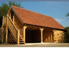 Wooden garage together with the carport can be built very quickly. Oak Framed Buildings, Timber Buildings, Small Buildings, Plan Garage, Carport Garage, Timber Garage, Wooden Carports, Wooden Garages, Diy Pole Barn