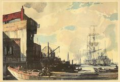 """Greenwich, London"" - christmas card illustration by Rowland Hilder, 1936/7 by mikeyashworth, via Flickr"