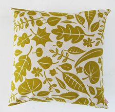 Cushion cover 50x50cm  Leaves in autumn gold by skinnylaminx, $38.00