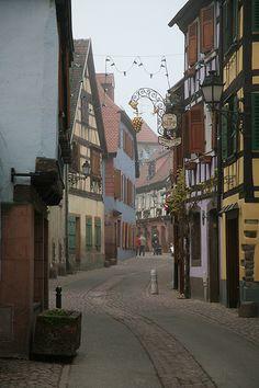 "Alsace, Haut-Rhin, "" Ribeauvillé, rue principale """