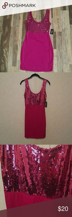 NWT Forever 21 Sequin Dress Brand new Forver 21 dress in magenta. Super cute with sequins. Tight fitting.  Size medium. Forever 21 Dresses Mini