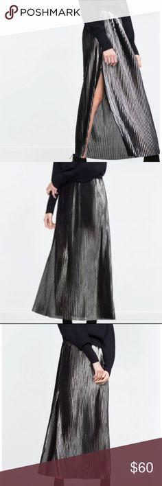 ZARA SHIMMER MAXI SKIRT Accordion shimmer pleat maxi skirt from Zara.    Color: Black shimmer thread  Maxi skirt   Side slit   Outer shell: 100% polyester  Lining: 100% polyester Zara Skirts Maxi