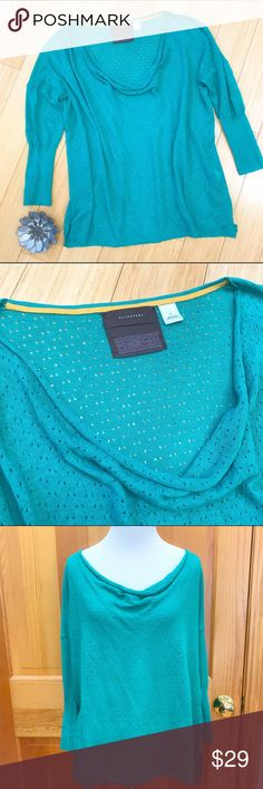 Anthropologie Guinevere sweater, S. Beautiful green sweater by Anthropologie line Guinevere, size small. Delicate feeling with a cowl neck line, loose cut. Bust is 23.5 inches, length is 24.5. Dolmen three-quarter sleeves. Excellent condition. Anthropologie Sweaters Cowl & Turtlenecks