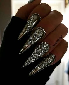 Adorable Modern Stiletto Nail Art Designs Ideas To Try Asap Halloween Acrylic Nails, Best Acrylic Nails, Glam Nails, Bling Nails, Art Nails, Silver Nails, Nail Manicure, Bling Bling, Nail Polish