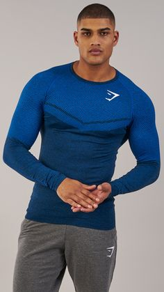 Carefully crafted to enhance your training potential. The Performance Seamless Long Sleeve T-shirt. Coming soon in Dive Blue Marl. #gymshark