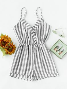 Shop Striped Foldover Knot V Back Surplice Cami Romper online. SheIn offers Striped Foldover Knot V Back Surplice Cami Romper Cute Summer Outfits, Outfits For Teens, Girl Outfits, Casual Outfits, Cute Outfits, Girls Fashion Clothes, Girl Fashion, Fashion Outfits, Mode Chic