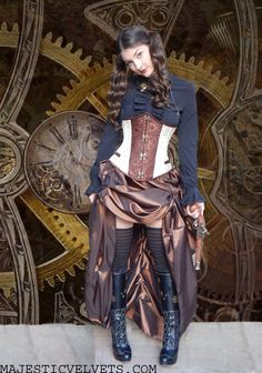 Ivory Under-Bust Steampunk Corset w/ Taffeta Bustle Skirt-Close-out