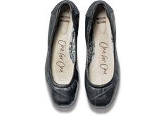 Black Camila Leather Women's Ballet Flats - TOMS